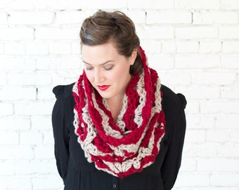 THE SNOWDROP COWL   22 Color Choices   Chunky Knit Textured Zigzag Chevron Two-Tone Cowl Scarf Neckwarmer