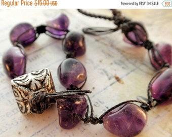 Half Price One week sale Amethyst Bead Macrame Bracelet