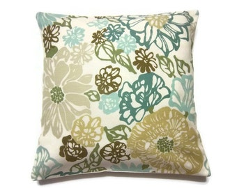 Decorative Pillow Cover Teal Turquoise Blue Olive Green Brown Same Fabric Front/Back Modern Floral Throw Accent Cover 18 x18 x inchx