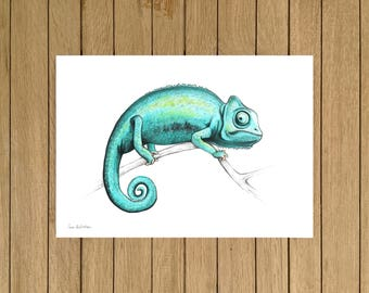 "Turquoise Chameleon, Watercolor Illustration, Giclée Print, Home Decor, Kids Room, Nursery Decor, A5, 8.5""x11"", A4, A3, 13""x19"""