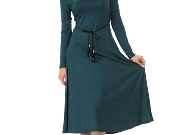 Long Sleeve A-Line Midi Dress with Braided Tassel Belt Hunter Green