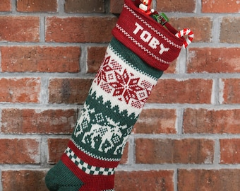 Personalized Christmas Stockings, moose, with red cuff