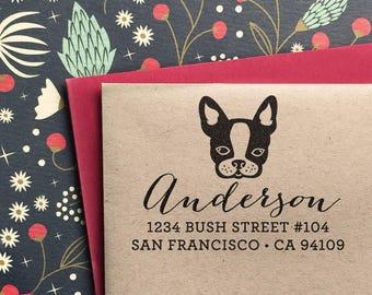 Custom Address Stamp, Return address stamp, French Bulldog Stamp Frenchie Boston Terrier, Return Address, holiday gift, housewarming gift