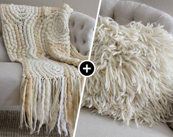 Wedding gift Housewarming gift Engagement gifts for couple Unique wedding gift for couple Gift set Cushion cover Chunky knit blanket Bedding