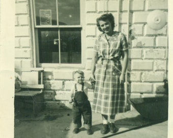 1951 Mother and Toddler Son Lyle Standing Outside Brick Building Store 50s Vintage Photograph Black White Photo