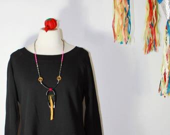 Bold Necklace, Long Tassel Necklace, Fringe Necklace, Woven Necklace, Unisex Necklace, Festival Fashion, Fabric Necklace, Statement Jewelry