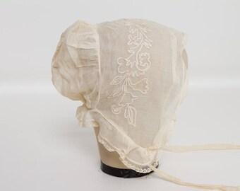antique Edwardian girl's organdy and lace ivory bonnet | 1910s child's cap
