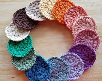 Organic Cotton Face Scrubbies -- Hand Crocheted with high quality turkish organic cotton yarn -- choose your colors