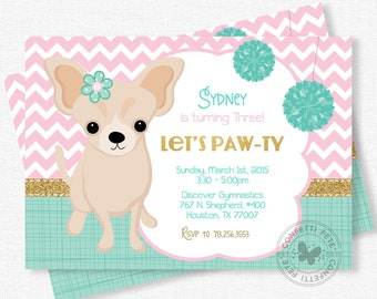 Puppy Party Invitation, Dog Birthday Invitation, Chihuahua Invitation, Pink Teal and Gold, Girl Birthday Invitation