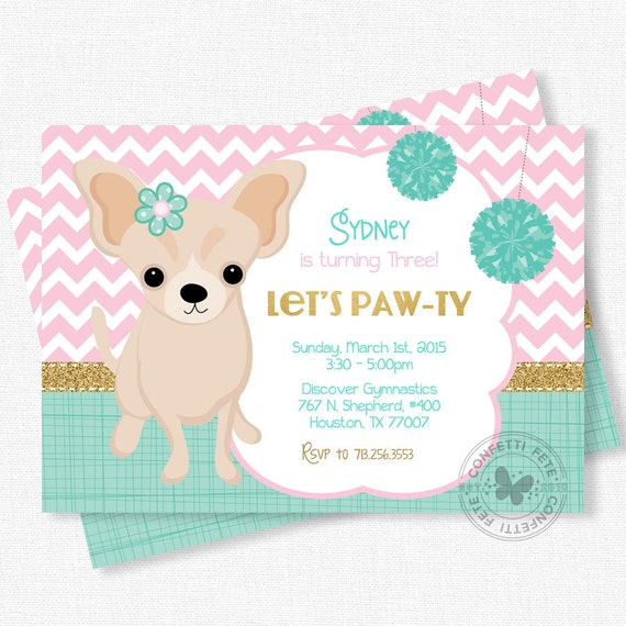 Puppy Party Invitation Dog Birthday Invitation Chihuahua