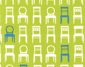 1 Yard TUFTED TWEETS Wooden CHAIRS Grass Lime Furniture Laurie Wisbrun Kaufman Home Decorating Quilting Sewing Fabric