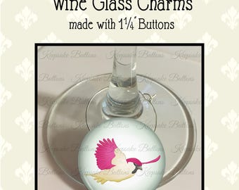 Wine Glass Charms, Set Of 6 Colorful Bird Charms, Wine Accessories, Hostess Gift, Wine Lover's Gift, Party Favors, Housewarming Gift
