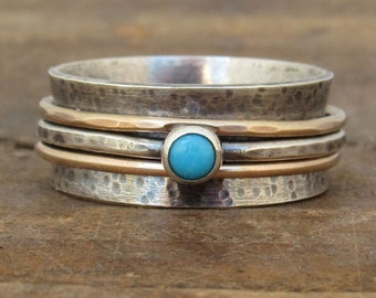 Spinner Ring, Meditation Ring, Fidget Ring, Turquoise Ring, Boho Ring, Worry Ring, Mixed Metal, Fidget Jewelry, Rustic Ring, Gold Ring
