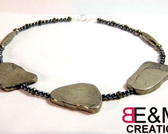 Iron pyrite and hematite, Sterling Silver 925 necklace