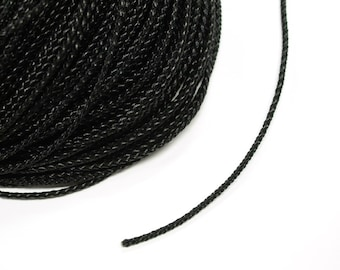 1 metre x 3mm Black Braided Leather Cord