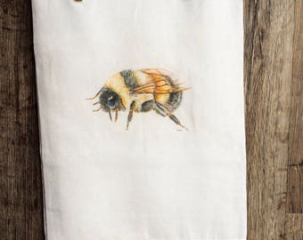 Honey Bee Tea Towel/ flour sack/ cotton/ art print/bee keeping / kitchen decor /gift for chef