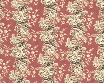RJR Chocolate & Bubble Gum Cream Brown Pink Floral Stripe Fabric 2716-001 BTY