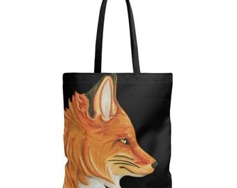 Light - orange black - fabric shoulder bag Fox painting pet portrait profile - free shipping