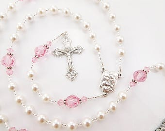 Personalized Swarovski Rosary in White and Pink - Baptism, First Communion, Confirmation Gift for a Girl