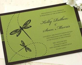 Dragonfly Wedding Invitation, Green Wedding Invitation