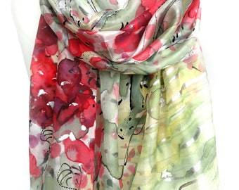 Red Scarf. Forest Scarf. Floral Silk Scarf. Birch Trees Scarf. Hand Painted Silk Shawl. Anniversary Present. 18x71in. MADE to ORDER