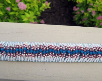 Hand beaded bracelet with turquoise Swarovski crystals, white and red seed beads, Southwest look, peyote stitch delicas, seed bead bracelet