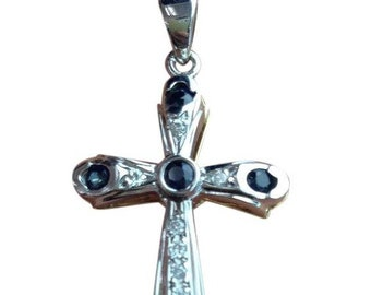 Blue Sapphires and Diamond 2 Tone Gold Cross Pendant - 14K