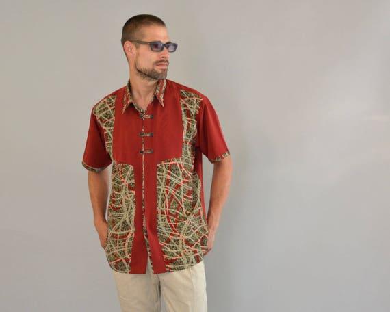 Sri Lankan Batik Shirt - Vintage 80s Green Burgundy White Sri Lanka Batik Shirt Short Sleeve Border Design Resort Cabana Kramer Shirt Size M jxT22q