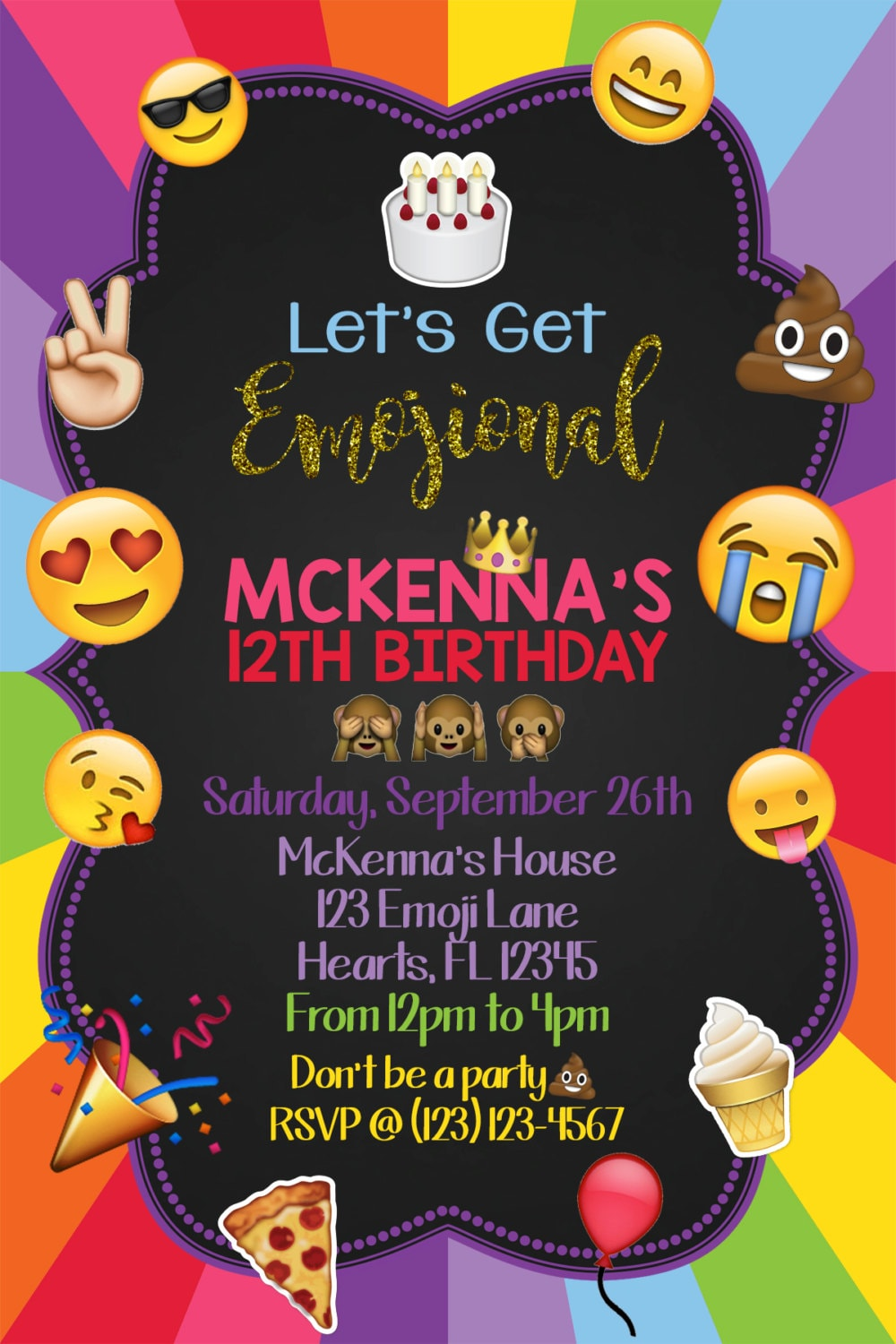 It is a photo of Crazy Emoji Invitations Printable