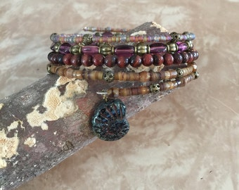 Wrap bracelet, beautiful combination of stones and glass
