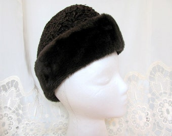 Curly Lamb and Faux Fur Winter Hat / Fur Ski or Winter Hat with Ear Flaps