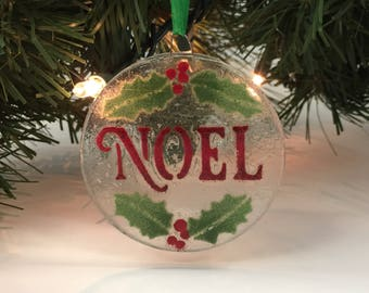 Fused Glass Ornament, Noel Ornament, Christmas Tree Decoration