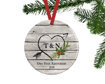 Our First Apartment Christmas Ornament, Personalized Gift for Couples, Rustic Heart Ornament, Housewarming Gift, Moving in Together