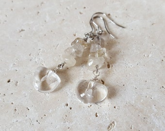 Natural Rutilated and Clear Quartz Earrings, Genuine Stone Earrings, Healing Crystals, Occluded Quartz, Unique, Dangle, Statement, Boho