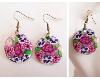 Unique earrings painting collection: Romantic flowers