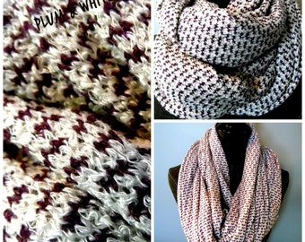 INFINITY SCARVES.Plum.White.Knit.Scarf.Circle Scarf.Tube Scarf.Neckwarmer.Gift ideas.Winter Scarf.Fall Scarf.Winter FashionScarves.