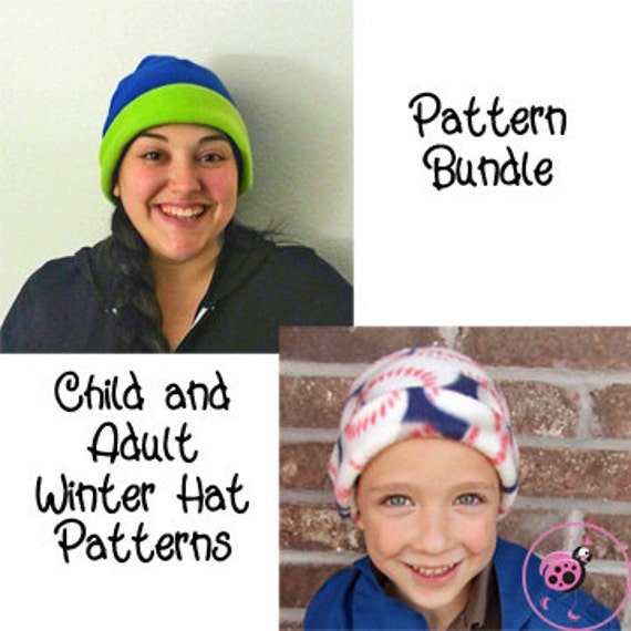 Winter Fleece Hat Sewing Pattern PDF. Child Sizes 0-10 years - Adult. child, men, women, teen, preteen