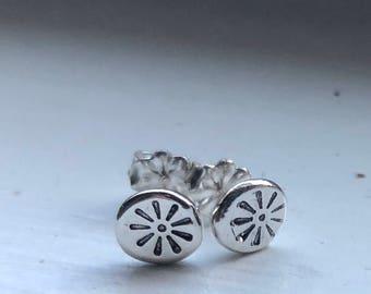 Tiny Sterling Silver Ear Studs , Sun Ear Studs, Handmade Studs,