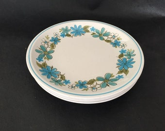 """Estate 70's Mikasa Cera Stone Di575 """"GIGI""""  Blue Flowers  Dinner Plate, Made In Japan Listing for ONLY (1) Replacement!"""