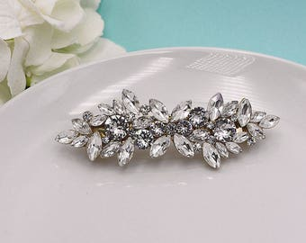 Bridal Barrette, Gold Bridal Rhinestone Crystal Barrette, Bridal Comb Crystal, Wedding Hair Piece, Brooke Swarovski Hair Clip