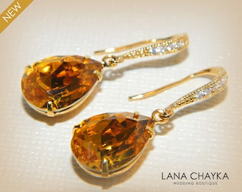 Topaz Crystal Earrings, Swarovski Topaz Gold Earrings, Yellow Amber Teardrop Earrings, Topaz Gold Wedding Jewelry, Mother of The Bride Gift