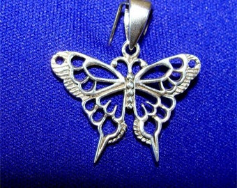 Beautiful BUTTERFLY Pendant with LACY Wings All STERLING Silveer
