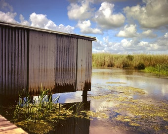 Louisiana Bayou Photography, Boathouse, Southern Louisiana, Fishing Art, Nature Photography, Abandoned Building, Swamp, Cajun Decor, Creole