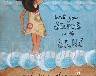 Beach Art, Mermaid Art Print,Mermaid Quote,Beach Cottage Decor,Secrets in the Sand (brunette), Print Sizes 8x10 and 5x7 by HRushton