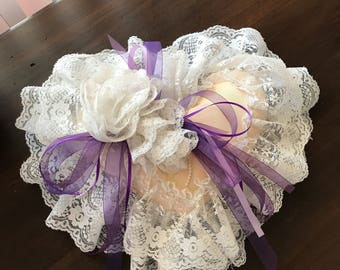 Vintage Heart shaped shabby chic pillow