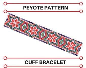Peyote Patterns | Beaded Cuff Bracelet | Pdf Pattern | Bead Tutorial | Pattern Jewelry | Seed Bead Bracelet | Geometric Pattern Bead Jewelry