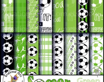Soccer set 1 Green - digital paper 16 jpg files - soccer players balls madras plaid [INSTANT DOWNLOAD]