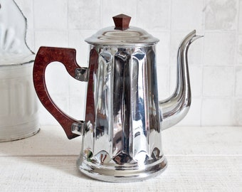 Vintage French Copper Chrome Plated Coffee Pot || Retro Coffee Maker - Country and Farmhouse Decor - Home Decor Box - Industrial Style