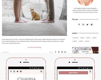 Blogger Template Responsive, Blogger Theme, Minimal, Slider, Simple, Photography, Template for Blogger, Premade, Blogspot - Johanna