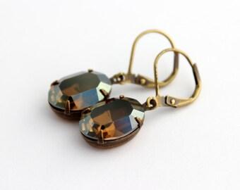Swarovski Crystal Bronze Shade earrings, Smoked Topaz earrings, Brown earring, oval earrings, fall earrings, Swarovski earring, Fall wedding